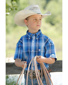 Cinch Boys' Royal Blue Plaid Short Sleeve Western Shirt , Blue, hi-res