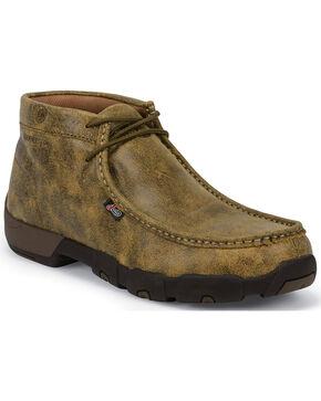 Justin Men's Waxy Tan Bomber Driver Moc Shoes - Steel Toe , Tan, hi-res