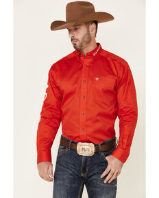 Ariat Men's Red Team Logo Twill Long Sleeve Button-Down Western Shirt - Tall , Red, hi-res