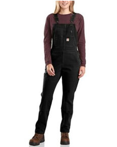 Carhartt Women's Black Rugged Flex Twill Double Front Bib Overalls, Black, hi-res