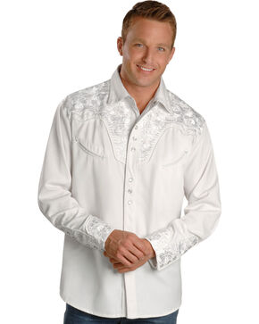 Scully Men's White Embroidered Gunfighter Shirt, White, hi-res