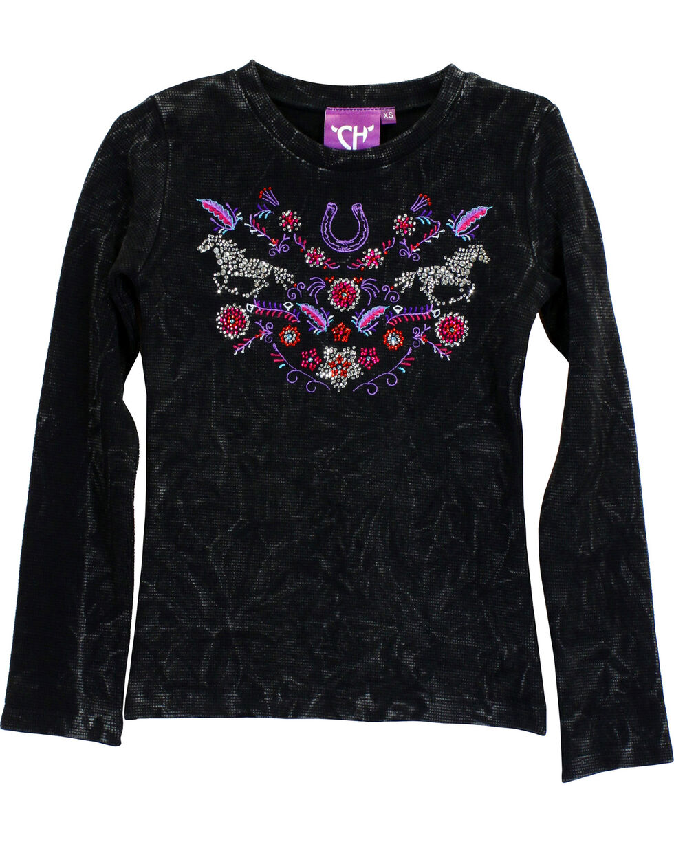 Cowgirl Hardware Girls' Floral Horse Mini Waffle Knit Shirt, Black, hi-res