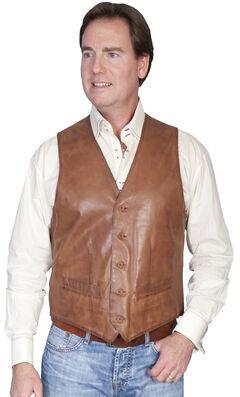 Scully Premium Lamb Leather Vest, Brown, hi-res