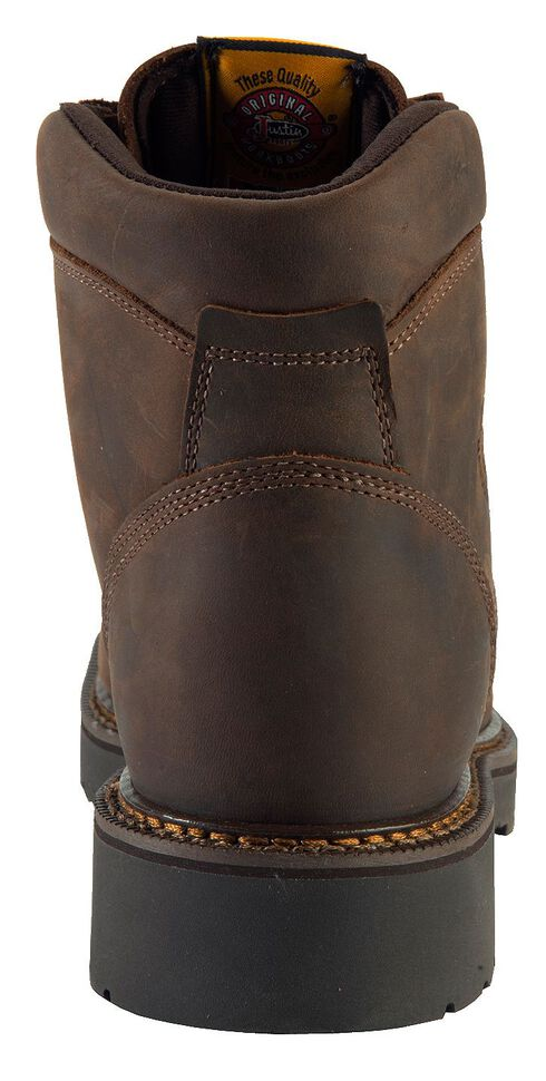 """Justin J-Max Rugged Gaucho 6"""" Lace-Up Work Boots - Steel Toe, Brown, hi-res"""