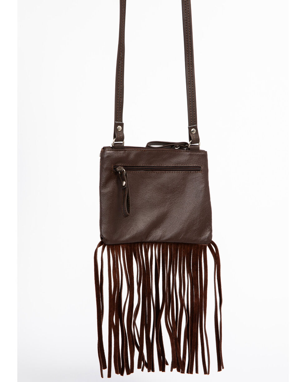 Shyanne Women's Filigree and Fringe Crossbody Bag, Brown, hi-res
