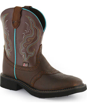 Justin Gypsy Women's Brown Saddle Vamp Short Cowgirl Boots - Square Toe, Brown, hi-res