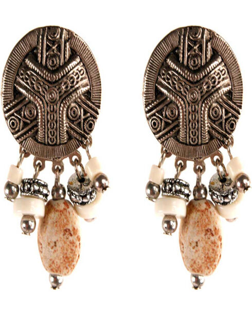 Treska Women's Button Top & Dangles Earrings, Silver, hi-res