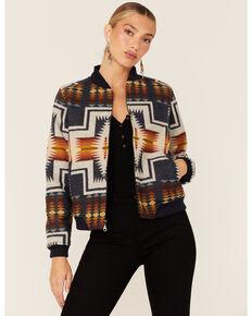 Pendleton Women's Jacquard Jacket, Navy, hi-res