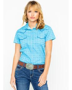 38d7fc75 Panhandle Womens Nordini Antique Short Sleeve Western Shirt, Light Blue,  hi-res