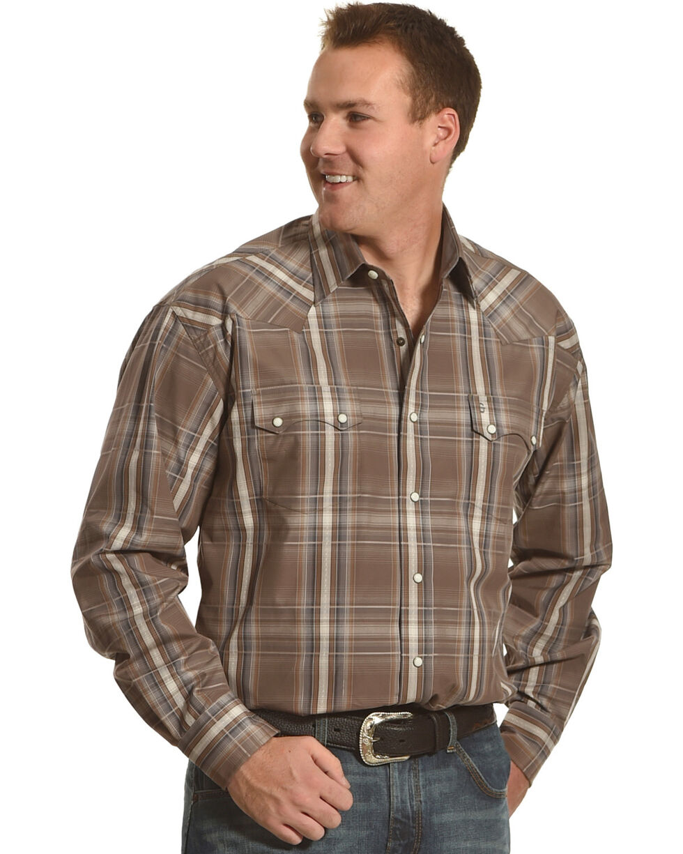Stetson Men's Brown Mineral Plaid Western Shirt , Brown, hi-res