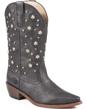 Roper Star Lights Studded Metallic Cowgirl Boots - Snip Toe, Black, hi-res
