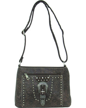 Savana Women's Tooled Embellished Crossbody Bag, Brown, hi-res
