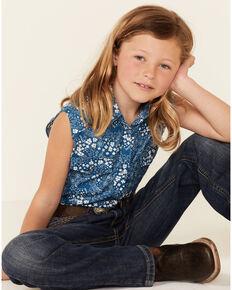 Shyanne Girls' Blue Ditsy Floral Print Sleeveless Snap Western Shirt , Blue, hi-res