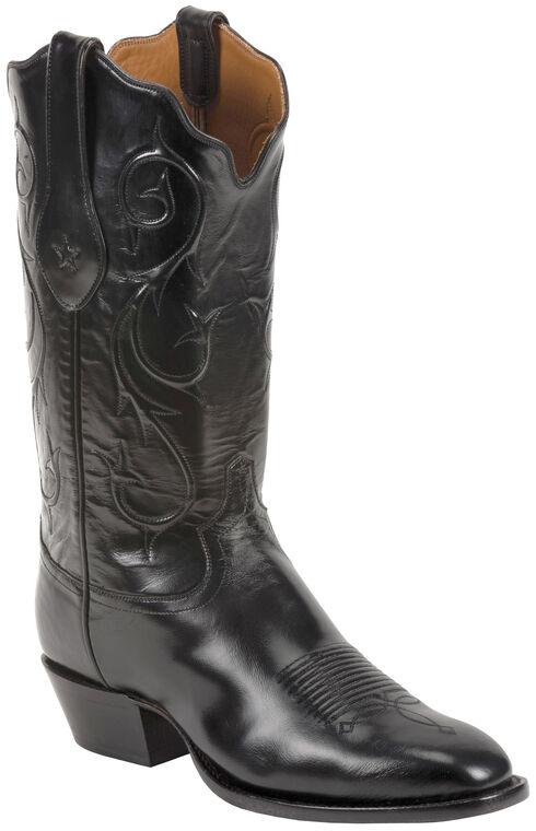 Tony Lama Black Brushed Signature Series Goat Western Boots - Square Toe , Black, hi-res