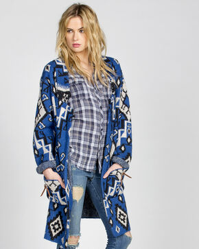 MM Vintage Women's Blue Crush Cardigan , Blue, hi-res