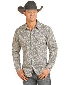 Rock & Roll Denim Men's FR Printed Paisley Twill Long Sleeve Work Shirt - Big , Silver, hi-res