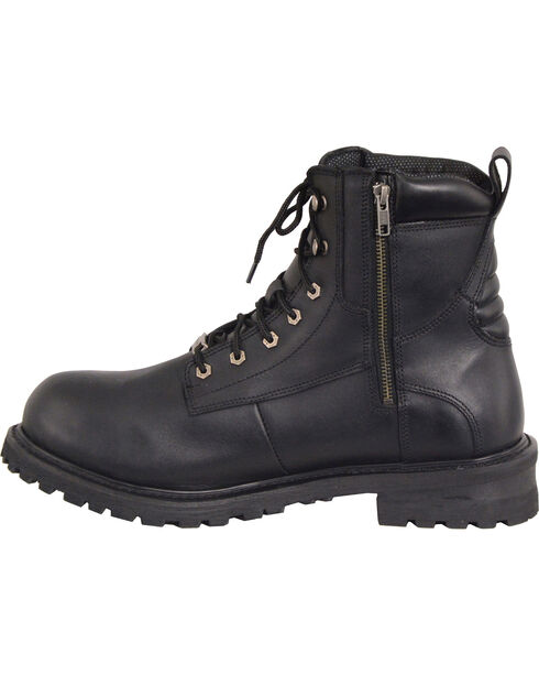 "Milwaukee Leather Men's Black 6"" Waterproof Lace Boots - Steel Toe , Black, hi-res"
