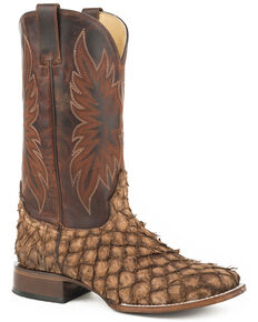Stetson Men's Brown Predator Pirarucu Fish Boots - Square Toe , Brown, hi-res