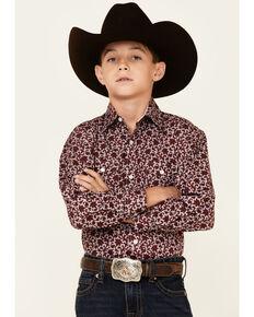 Panhandle Boys' Maroon Poplin Printed Snap Front Long Sleeve Western Shirt, Maroon, hi-res