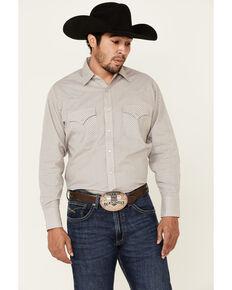 Ely Walker Men's Assorted Small Check Plaid Snap Long Sleeve Western Shirt - Big, Beige/khaki, hi-res