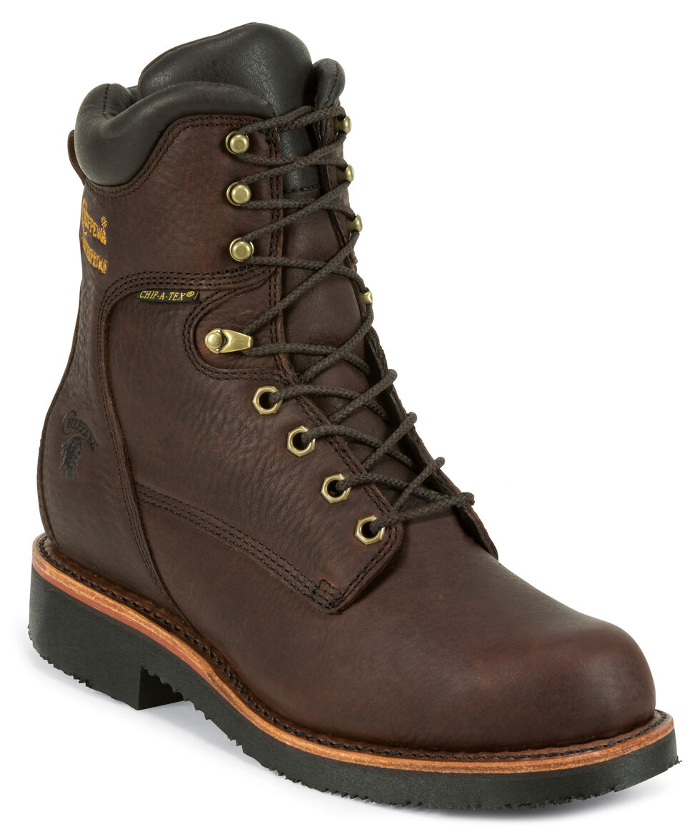 "Chippewa Men's 8"" Lace Up Boots - Round Toe, Walnut, hi-res"