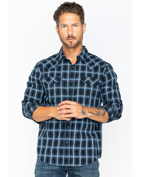 Cody James Men's Good Vibes Med Plaid Long Sleeve Shirt- Big & Tall , Black, hi-res