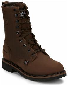 Justin Men's Drywall Work Boots - Soft Toe, Brown, hi-res
