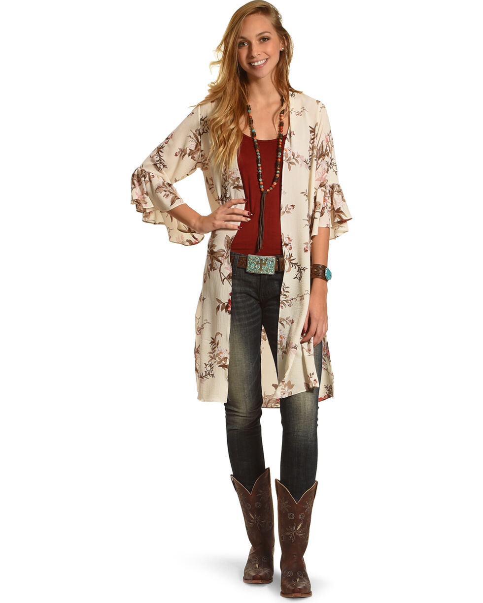 Moa Moa Women's Bell Sleeve Floral Kimono Duster, Ivory, hi-res