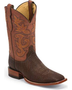 Justin Men's AQHA Remuda Oiled Shark Cowboy Boots - Square Toe, Cognac, hi-res