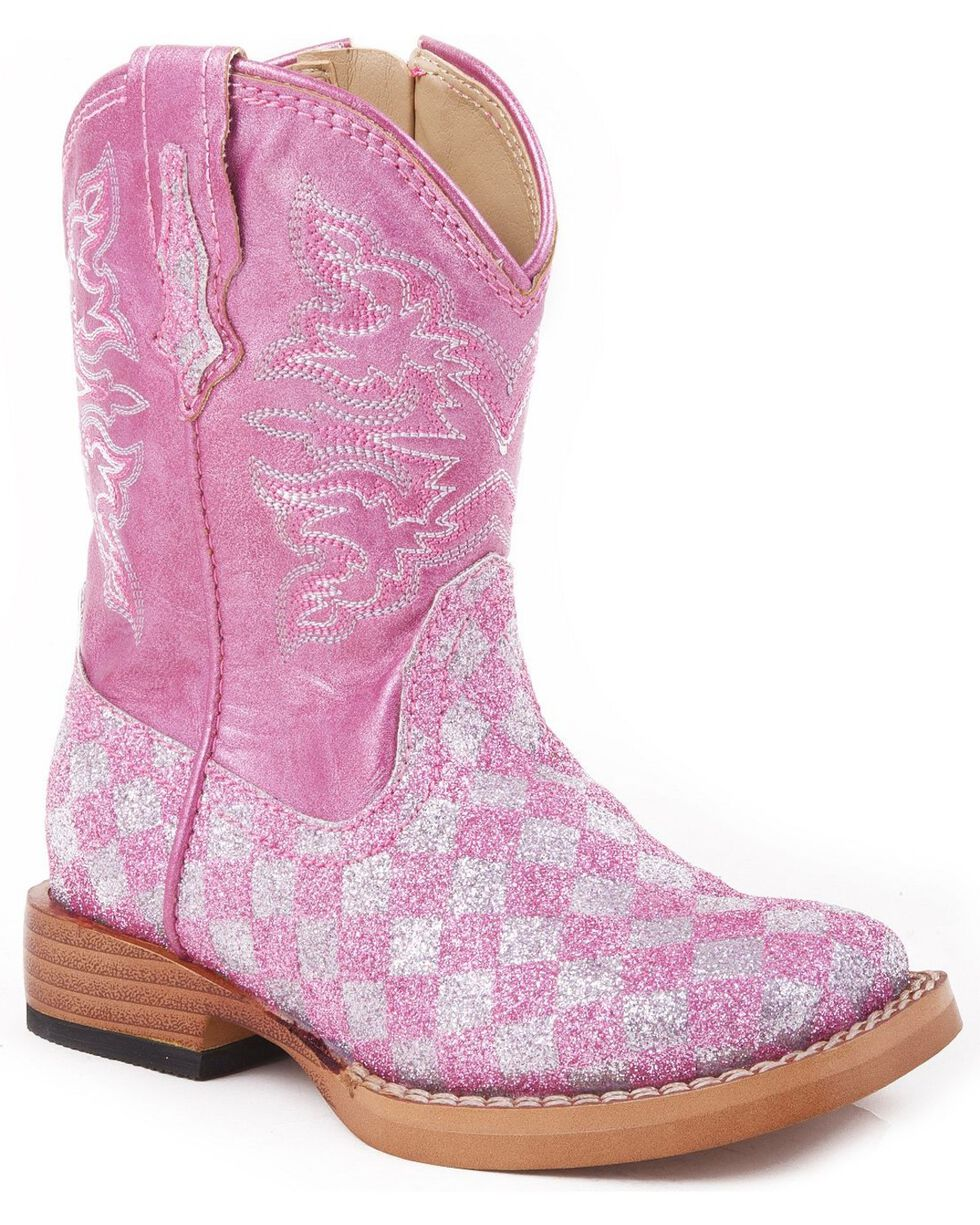 Roper Infant Girls' Pink Checker Glitter Cowgirl Boots, Pink, hi-res
