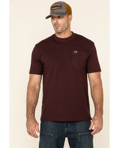 Wrangler Men's Riggs Short Sleeve Pocket T-Shirt, Burgundy, hi-res