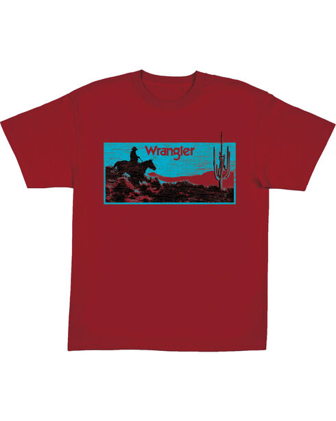 Wrangler Boys' Red Sunset Print Tee , Red, hi-res