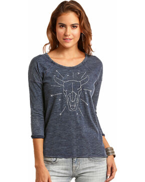 Rock & Roll Cowgirl Women's Blue Stitching & Stars Steer Tee , Blue, hi-res