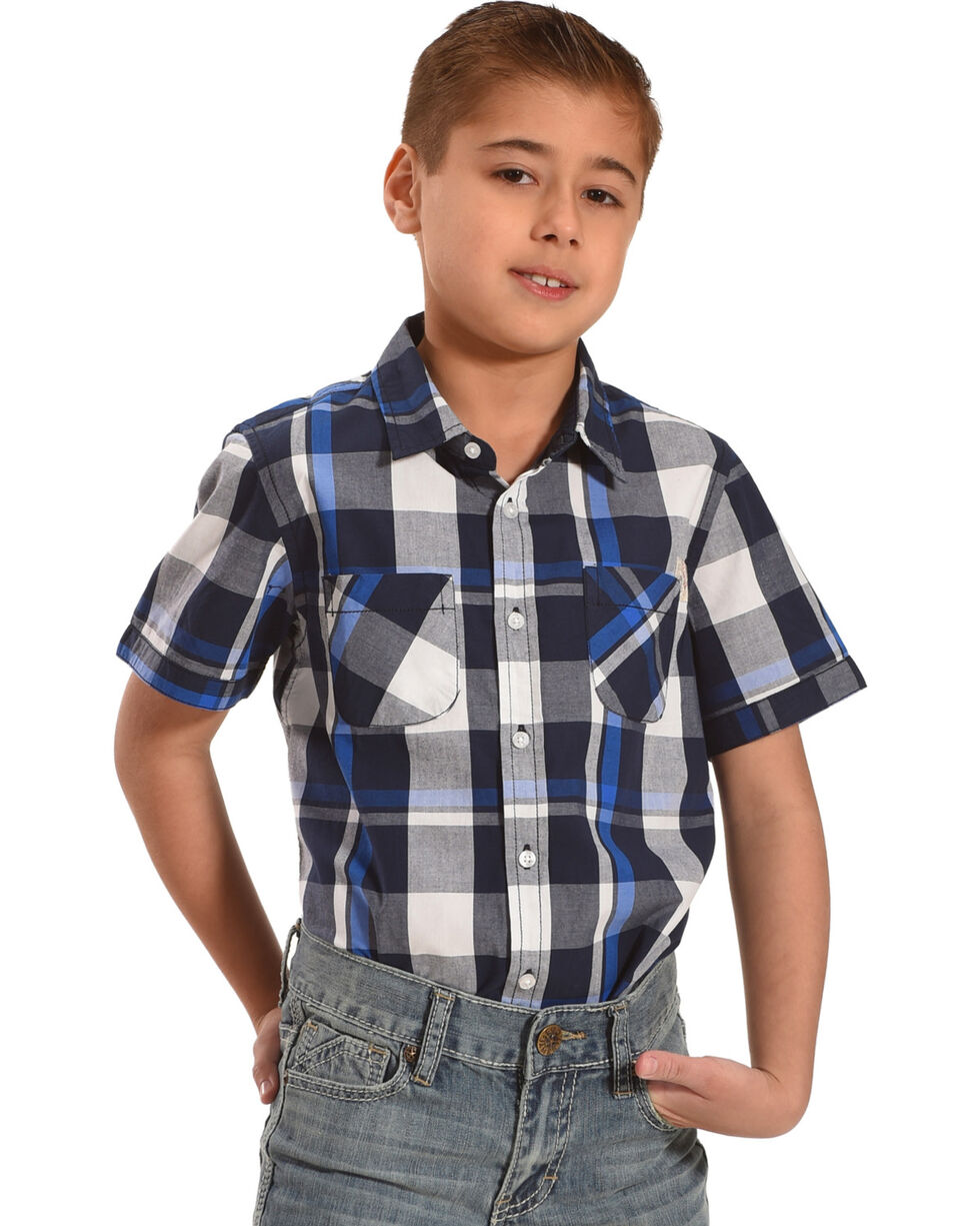Silver Toddler Boys' Navy Plaid Short Sleeve Button Down Shirt, Navy, hi-res