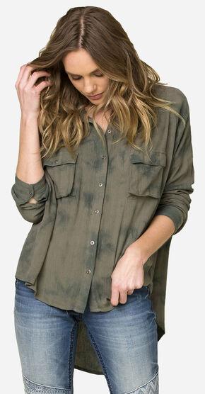 Miss Me Tie-Dye Hi-Lo Long Sleeve Shirt, Olive, hi-res