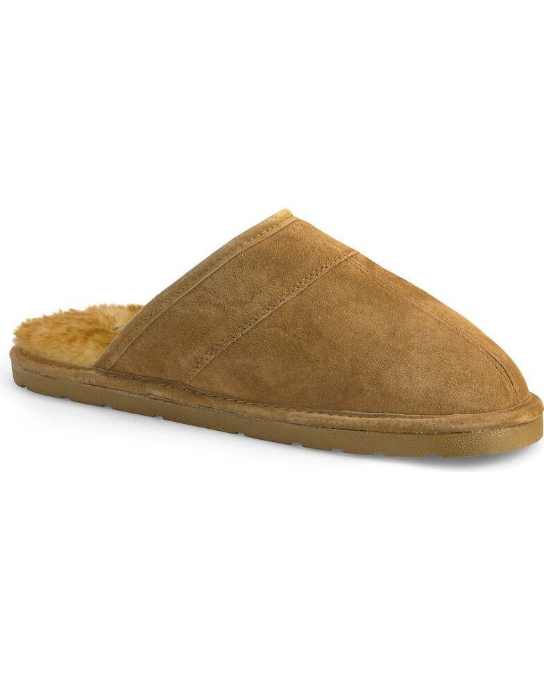 Lamo Footwear Men's Scuff Leather Slippers, Chestnut, hi-res