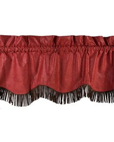 HiEnd Accents Cheyenne Tooled Faux Leather Valance, Red, hi-res