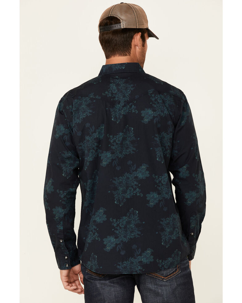 Moonshine Spirit Men's Prism Paisley Print Long Sleeve Snap Western Shirt , Navy, hi-res