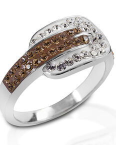 Kelly Herd Women's Swarovski Crystal Buckle Ring , Silver, hi-res