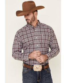 Ariat Men's Kolt Stretch Small Plaid Long Sleeve Button Western Shirt , Red, hi-res