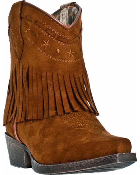 Dan Post Girls' Gingersnap Fringe Cowgirl Boots - Snip Toe, Rust, hi-res