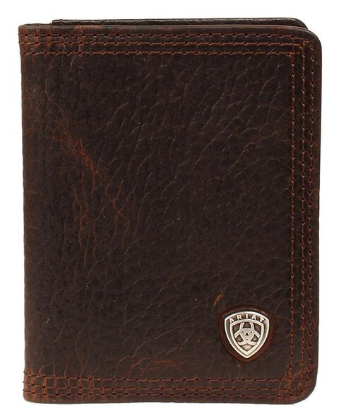 Ariat Logo Concho Bi-fold Wallet, Brown, hi-res