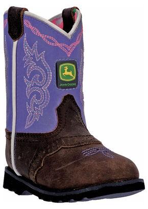 John Deere Toddler Girls' Johnny Popper Violet Western Boots - Square Toe, Brown, hi-res