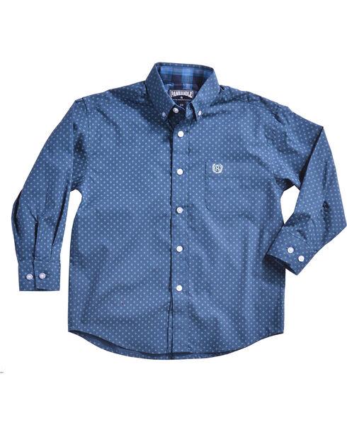 Panhandle Boys' Blue Brushed Print Shirt , Blue, hi-res