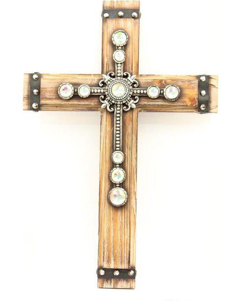 Wooden Rhinestone Embellished Wall Cross, Tan, hi-res