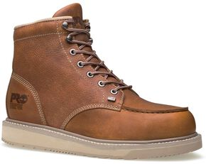 "Timberland Pro Barstow 6"" Lace-Up Wedge Work Boots - Steel Toe, Rust, hi-res"