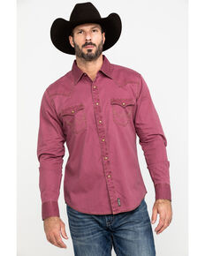 Wrangler Retro Men's Premium Solid Twill Long Sleeve Western Shirt , Burgundy, hi-res