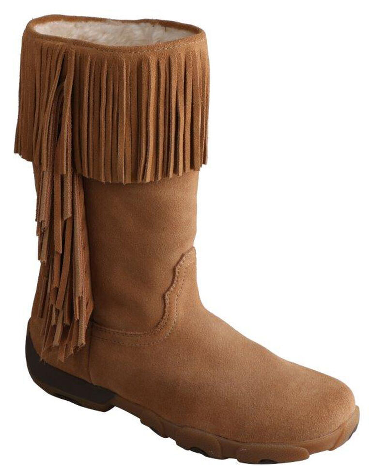 Twisted X Women's Moc Fringe Boots - Round Toe, Natural, hi-res