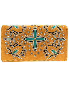 Montana West Women's Cross Embroidered Wallet, Brown, hi-res