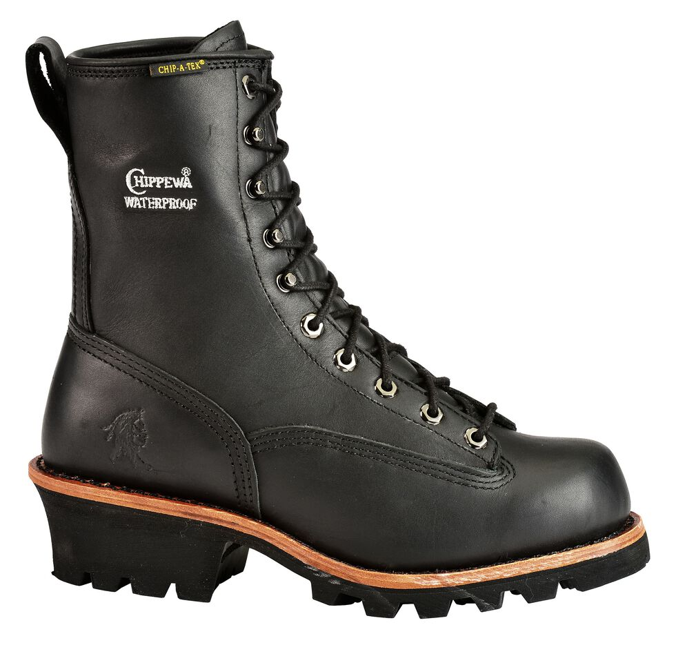 "Chippewa Oiled Waterproof & Insulated 8"" Lace-Up Logger Boots - Comp Toe, Black, hi-res"